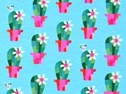 RESTSTÜCK 27 cm Jersey Kakteen jolijou, grün pink türkis