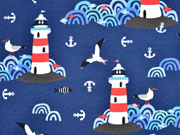 RESTSTÜCK 33 cm Jersey Lighthouse Island by Lila-Lotta, dunkelblau