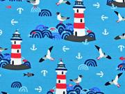RESTSTÜCK 29 cm Jersey  Lighthouse Island by Lila-Lotta, türkis