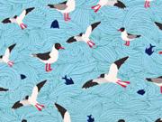 Jersey  Seagull Wave Lila -Lotta, Möwen helltürkis