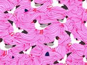 Jerseystoff Möwen Wellen Lila -Lotta Möwe, rosa