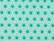 RESTSTÜCK 35 cm beschichteter Baumwollstoff Mini Geo Star, mint