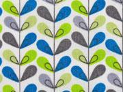 beschichtete Baumwolle Luna Blätter, limone