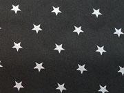 RESTSTÜCK 41 cm Baumwollstoff Sterne 1 cm, hellgrau auf schwarz