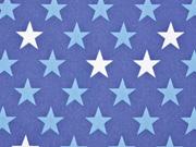 RESTSTÜCK 80 cm Nano-Softshell Sheldon Sterne 2,5 cm jeansblau