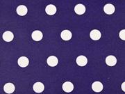 beschichtete Baumwolle Punkte 1,6cm, weiß lilablau