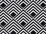 beschichteter Baumwollstoff Quadrate Leona, schwarz