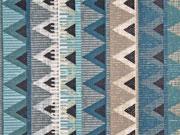 beschichtete Baumwolle Inka Look Zickzack, grau mint