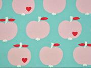 RESTSTÜCK 40 cm Canvas Stoff Äpfel by Graziela schmutz-und wasserabweisend, mint