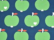 Canvas Stoff Äpfel by Graziela schmutz-und wasserabweisend, grün dunkelblau