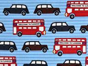 Baumwollstoff London Bus Taxi, rot blau