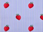 RESTSTÜCK 90 cm BW Popelin Deluxe Streifen Erdbeeren, hellblau