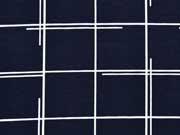RESTSTÜCK 1,23m Jersey quadratische Linien, weiss dunkelblau