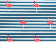 RESTSTÜCK 74 cm Jersey Streifen Flamingos, petrol neonpink