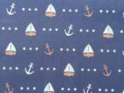 RESTSTÜCK 98 cm Baunwollstoff Seaside Anchor & Ship Hilco, dunkelblau