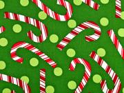 Baumwollstoff Zuckerstangen Weihnachtsstoff, grün