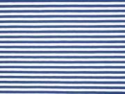 Jersey Streifen 5 mm, mittelblau weiß
