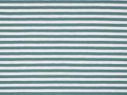 Jerseystoff Streifen 5 mm, dunkelmint weiß