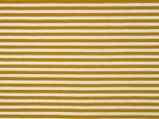 Jersey Streifen 5 mm, ocker weiß