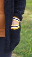 Jersey Stoff Streifen 1 cm, ocker weiß