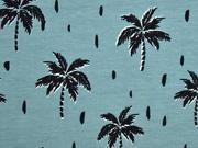 RESTSTÜCK 1,48m Jersey Palmen, dunkelmint
