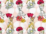Jersey Bambi Rehe Blumen Punkte Digitaldruck, rosa