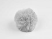Kunstfellbommel Taschenanhänger 6 cm, grau