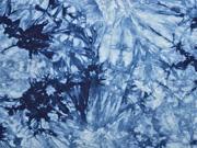 RESTSTÜCK 80 cm Viskosejersey Tie Dye Batik, dunkelblau