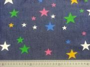 RESTSTÜCK 66 cm Leichter Jeansstoff bunte Sterne auf dunkelblau