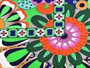 Jersey bunte Blumen, hellgrün orange dunkelblau