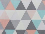 RESTSTÜCK 37 cm Dekostoff Skandinavischer Look Dreiecke, weiß