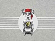 RESTSTÜCK 58 cm French Terry Hund Pirat Panel Stenzo, grau