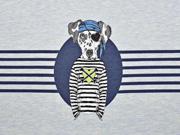 RESTSTÜCK 61 cm French Terry Hund Pirat Panel Stenzo, blau melange
