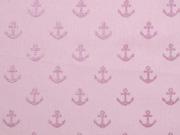 RESTSTÜCK 30 cm Baumwollstoff Anker Glitzer, altrosa metallic rosa