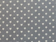 RESTSTÜCK 27 cm Jersey Sterne 0,7cm-weiß auf hellgrau