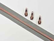 endlos Reißverschluss metallisiert KUPFER 6,5mm Spirale + 3 Schieber, mittelgrau