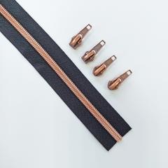 endlos Reißverschluss metallisiert KUPFER 6,5 mm Spirale + 3 Schieber, schwarz
