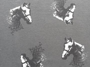 RESTSTÜCK 69 cm Jersey Pferde, weiß dunkelgrau