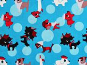 Baumwollstoff Hunde - himmelblau