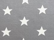 RESTSTÜCK 25 cm Jersey Sterne 3 cm - weiß auf grau