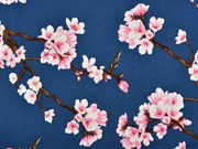 Viskose Stoff Kirschblüten, rosa weiß indigoblau