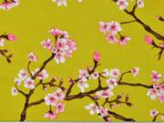 Viskose Stoff Kirschblüten, rosa weiß senfgelb