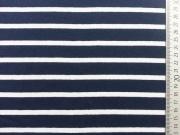 Reststück 49cm Viskose Jersey Streifen 1,6cm/0,6cm - marine/weiß