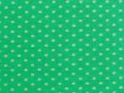 RESTSTÜCK 34 cm Jersey Pünktchen - gelbgrün auf grasgrün