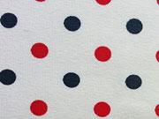RESTSTÜCK 65 cm Jersey Punkte, rot dunkelblau weiß