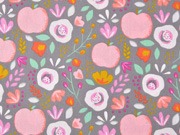 Baumwollstoff Äpfel Blumen beschichtet, rosa grau
