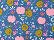 Baumwollstoff Äpfel Blumen beschichtet, rosa mittelblau