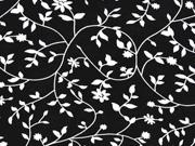 RESTSTÜCK 88 cm Viskose Blätter Ranken, weiß  schwarz