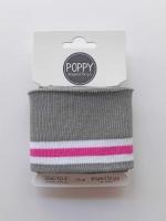 Fertigbündchen Stoff Streifen College Stil, weiß pink grau