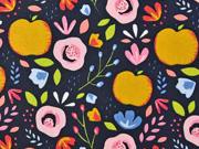 Baumwollstoff Äpfel Blumen beschichtet, rosa ocker dunkelblau